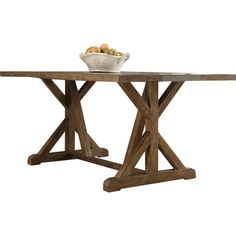 Perfect for gathering the family for a home-cooked weeknight meal, this rustic dining table features a trestle base and an oak top.