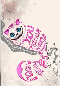 Alice in Wonderland Cheshire Cat- Minimalist Design - Quote print Alice And Wonderland Quotes, Adventures In Wonderland, Wonderland Party, Arte Disney, Disney Art, We All Mad Here, Images Disney, Chesire Cat, Cheshire Cat Tattoo