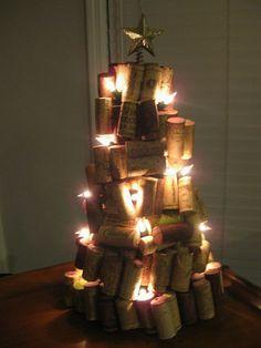 lit wine cork christmas tree!!