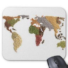 Mapa del mundo hecho con semillas
