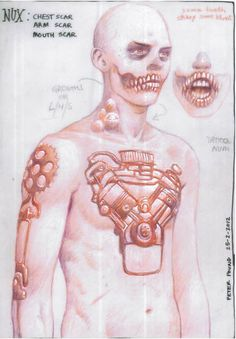 Super helpful! The original concept designs for Nux's scars by Peter Pound!