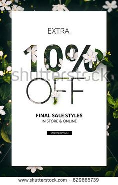 Brilliant Promotion sale poster, banner, ads 10% off discount. Precious Paper cut with real flowers and leaves. For your unique selling poster/banner promotion offer discount ads in several occasional