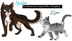 Hawkfrost & ivypaw. hawkfrost took a life away from firestar(he has 9 lifes) and hawkfrost toke ivypaw into the dark forest for training and she saved everybody