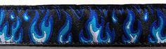 Blue Hot Rod Flames Biker Cruiser Dog Collar (Large, Medium Plus, Medium)
