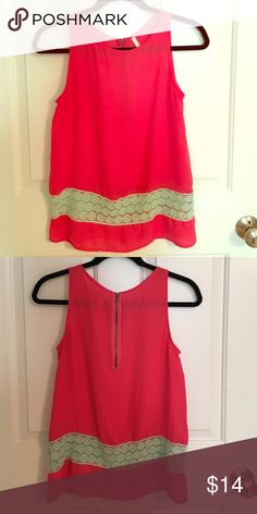 Hot Pink and Mint Lace Top Hot pink top with mink lace wrapping around the bottom Tops Blouses