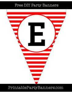 Red and White Pennant Horizontal Striped Capital Letter E