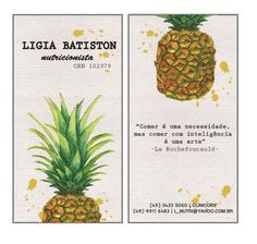 Business Card - Pineapple Watercolor Pencil Illustration