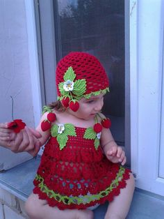 Strawberry dress and hat. Wish link took me to the pattern instead of just the picture :P