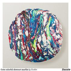 Cute colorful abstract marble round pillow Round Pillow, Party Hats, Decorative Throw Pillows, Art Pieces, Marble, Colorful, Abstract, Cute, Summary