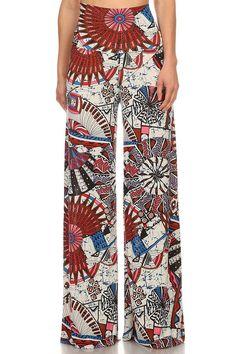 High Waist Fold Over Wide Leg Gaucho Palazzo Pants (Rising Sun) Wide Leg Palazzo Pants, Printed Palazzo Pants, Wide Leg Pants, Next Fashion, Fashion Outfits, Fashion Ideas, Retro Floral, Casual Pants, Hemline