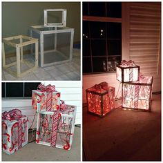 These fun little lighted Christmas presents were made by Mandy Simmons! She built 3 different sized boxes with wood then attached window screens around them. She then spraypainted them with white andadded the little red swirl after. She finished by sticking lights on the inside and wrapping a ribbon around the outside! How fun for …