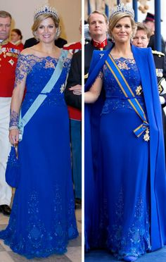 royalroaster:  Jan Taminiau Blue Lace Gown-March 2015, State visit to Denmark; Inauguration of King Willem-Alexander, April 2013