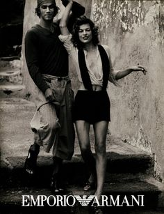 Bruno Santos and Milla Jovovich for Giorgio Armani, photographed by Peter Lindbergh, Fall/Winter 2003