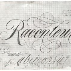 Warm-up & notes from last week's @coopertype script lettering workshop.  The sketch explores the varieties and positioning of flourishes, 'take-off' points for lowercase letterforms, as well as whole-arm-movement warm-up exercises. Considering that a letterer is a bit like a story teller, the word 'raconteur' seemed appropriate.