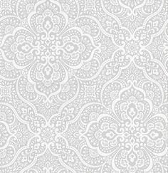 Imara Porcelain (1618/047) - Prestigious Wallpapers - An all over symmetrical damask design, with delicate detailing. Shown here in porcelain blue and white. Other colourways are available. Please request a sample for a true colour match. Paste-the-wall product.
