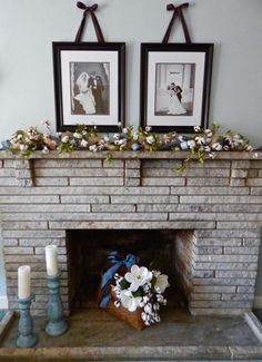 Summer Mantle Decor with cotton boll garland, ribbon, magnolias, and burlap.  See the details on penderandpeony.com