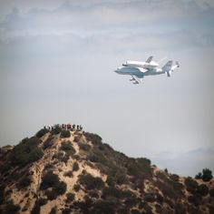 Space Shuttle flying through Griffith Park