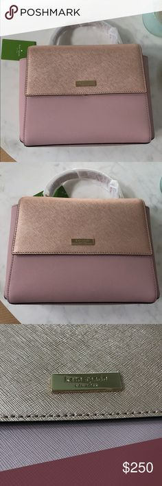 "Kate Spade Rose Gold/Blush Crossbody SIZE:  7""h x 9""w x 3.5""d  Drop length: 2.55""  Handheld total strap length: 47.2""   DETAILS:  Crossbody with shoulder strap with snap closure dual interior slide pockets and zipper pocket adjustable and removeable strap  Last picture is for sizing reference only kate spade Bags Crossbody Bags"