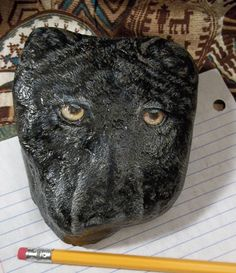 Black Wolf Face Paperweight Hand Painted on by ArtistTreeCurios, $70.00