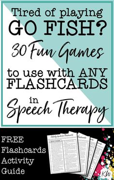 This FREE Speech Therapy Flashcards Activity Guide can be used with any flashcards you use for therapy. It includes 30 fun games & activities! As a bonus, it also includes ideas on how to target 14 areas of early language development, including: actions, object functions, negation, inference, basic concepts, yes/no questions, WH questions, increasing sentence length, plurals, describing, categories, pronouns, possessives, and even social skills! Click to download!