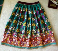 Vintage Antique Handmade Peruvian Green Skirt SMALL Embroidered Red Yellow White