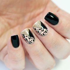Geometric Leopard Print Nail Art by @paulinaspassions