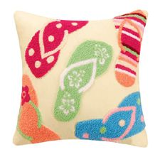 Flip Flops Hooked Throw Pillow