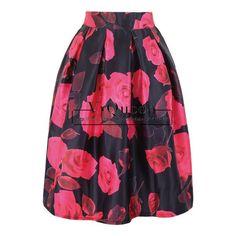 Samuume 2017 Spring Summer Women Rose Floral Print High Waist Pleated Knee-Length Vintage Ball Gown Skirts Female A1412020