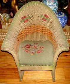 Vintage Wood Oak Office Chair Swivel Wheels Cane Back