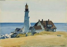 """Edward Hopper was a prominent American realist painter and printmaker. While he was most popularly known for his oil paintings, he was equally proficient as a watercolorist and printmaker in etching. (Wikipedia) (""""Portland Head Light"""" by Edward Hopper) American Realism, American Artists, Edouard Hopper, Cape Elizabeth Maine, Edward Hopper Paintings, Kunsthistorisches Museum, Museum Of Fine Arts, Framed Art Prints, Framed Wall"""
