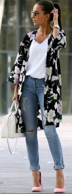 #spring #summer #highstreet #outfitideas | Floral + White + Denim + Pop Of Pink