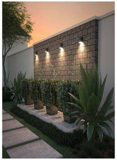 Backyard Patio Designs, Small Backyard Landscaping, Landscaping Ideas, Garden Wall Designs, Arizona Backyard Ideas, Mulch Landscaping, Outdoor Wall Lighting, Outdoor Walls, Lighting Ideas