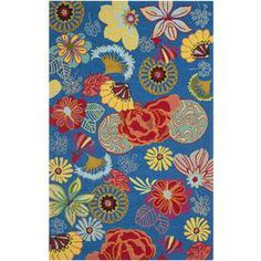Safavieh�Four Seasons 30-in x 48-in Rectangular Blue Floral Accent Rug