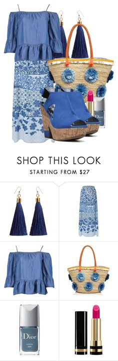 """Bohemian Blues"" by i-love-shoes ❤ liked on Polyvore featuring Monsoon, Boohoo, Milly, Christian Dior, Gucci and Carlos by Carlos Santana"