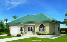 This one storey Bungalow House with 3 bedrooms is 127 square meters in floor area which can be built in a lot with 285 square meters lot area. Hip Roof Design, Gable Roof Design, Three Bedroom House Plan, House Plans One Story, Story House, Bungalows, House Floor Design, Single Storey House Plans, Model House Plan