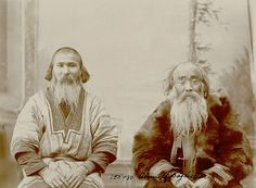 Two old Ainu men in costume, Sakhalin island, Russia, ca. 1900s by Bronislaw Pilsudski