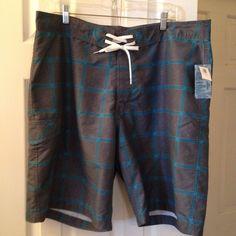 "OLD NAVY Mens Gray Aqua Plaid 10"" Board Shorts At The Knee Surf-Tie Front XL NWT #OldNavy #BoardShorts"