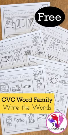Free CVC Word Family Write the Words No-Prep Worksheet - 5 worksheets with CVC short vowel words an The Words, Short E Words, Word Family Activities, Cvc Word Families, Montessori Activities, Reading Activities, Cvc Worksheets, Free Kindergarten Worksheets, Short I Worksheets