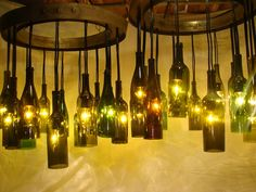 Wine Bottle Chandelier Up-cycled from Wine by WineBarrelFurniture