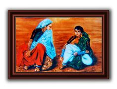 Do Saheliyaan~Oil painting created on canvas.