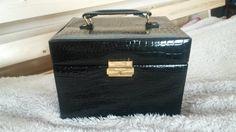 Vintage black leatherette jewellery travel case/box Vintage storage by AndreasAntiquarium on Etsy