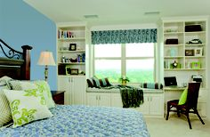 Interior design: decorating and space planning. Architectural accents, crown molding, trim. Window treatments: valances. Flooring: carpet. Storage solutions: built-in bookshelves.