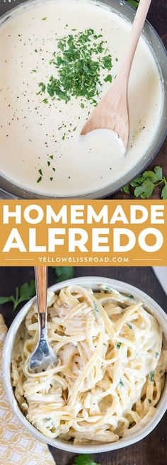 Homemade Alfredo Sauce Recipe is so creamy and flavorful, and so simple to make from scratch! Great for pasta, pizza and more!  #yellowblissroad