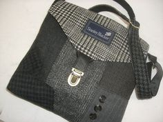 Recycled purse black grey men's suit coat READY TO by SewMuchStyle: