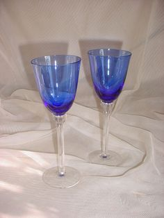 Pair of Cobalt Blue Wine Glasses Goblets Stemware for Picnic Special Occasions #Unbranded Seller florasgarden on ebay