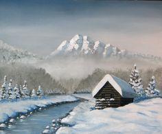Winter cabin - acrylic on canvas board