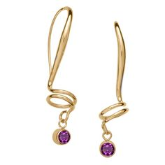 Ed Levin Gold Over Whimsy Earrings With Amethyst www.gembycarati.com www.facebook.com/gembycarati