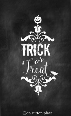 Free Halloween Printables | Chalkboard Trick or Treat | Use for DIY Wall Art, Banners, Cards, Crafts and More!