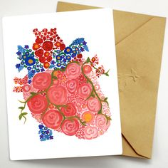 Floral Anatomical Heart Card