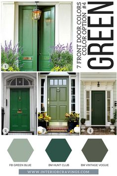 7 FRONT DOOR COLORS - green front doors inspiration and green paint codes and paint swatches Source. Front Door Paint Colors, Exterior Paint Colors For House, Painted Front Doors, Paint Colors For Home, House Colors, Paint Colours, Painted Exterior Doors, Interior Door Colors, Exterior Shutters